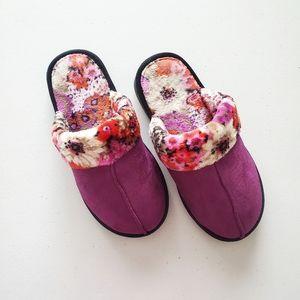 Vera Bradley Purple Floral Cozy Fluffy Slippers